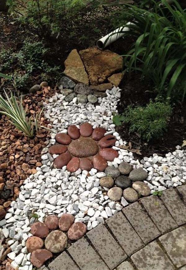 White and Brown Background Stones and Stone Flowers #riverrocklandscapingideas #homedecorimage