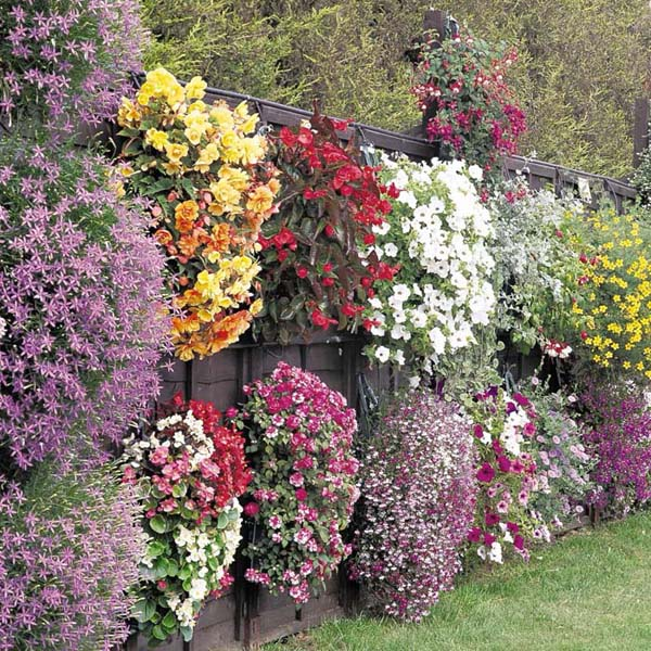 Baskets with Hanging Flowers on the Fence #fenceplanters #homedecorimage