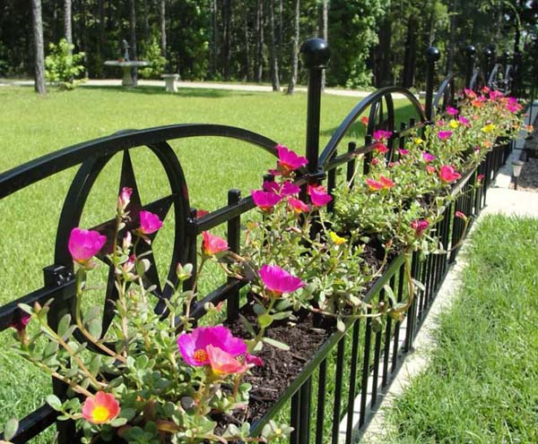 Built-In Wrought Iron Fence Planters #fenceplanters #homedecorimage