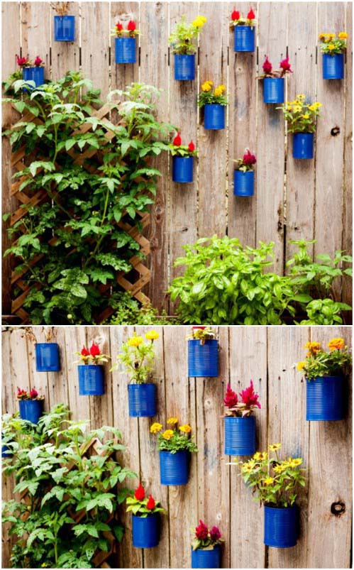 Reused Tin Cans on the Fence #gardenfencedecoration #homedecorimage