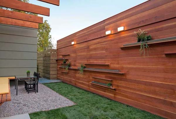 Shelves and Gutters for Small Fence Planters in Pots #fenceplanters #homedecorimage