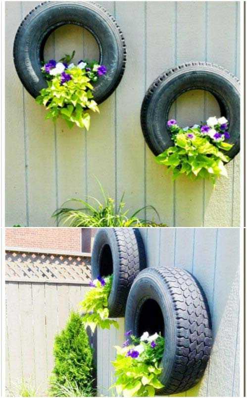 Tire Planters Hanging on the Fence #gardenfencedecoration #homedecorimage