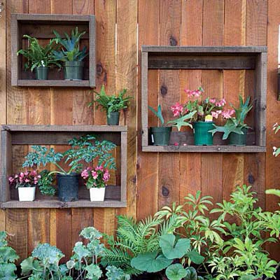 Upcycled Crate Shelves Used as Planters #fenceplanters #homedecorimage