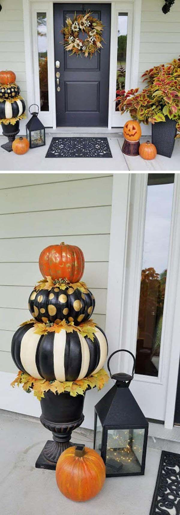 Hand Painted Halloween Pumpkin Topiary for Porch Decor #topiary #halloween #homedecorimage