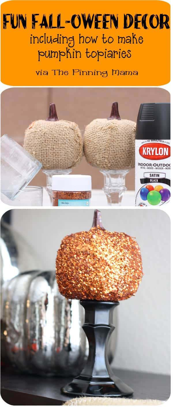 How to Make a Pumpkin Topiary with Candlestick #topiary #halloween #homedecorimage