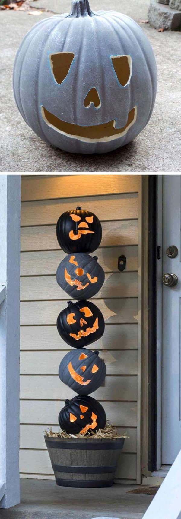 Lighted Pumpkin Topiary for Halloween Front Porch #topiary #halloween #homedecorimage