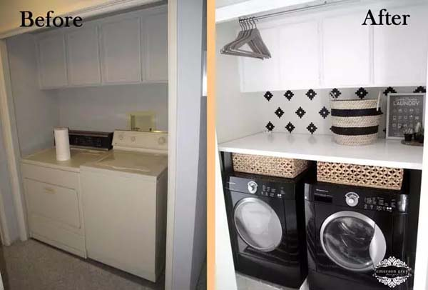Contrast Colors in the Laundry Room #laundryroom #makeover #homedecorimage