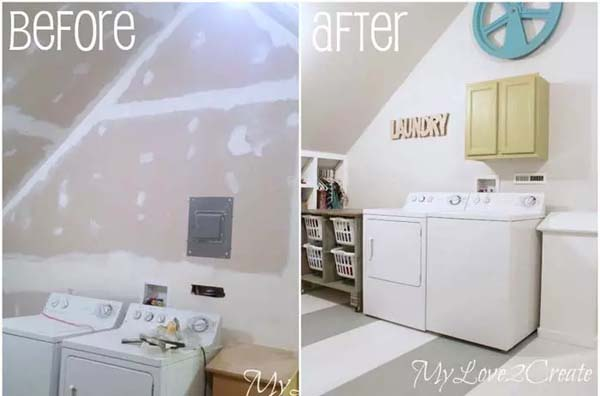 Laundry Room in the Attic #laundryroom #makeover #homedecorimage