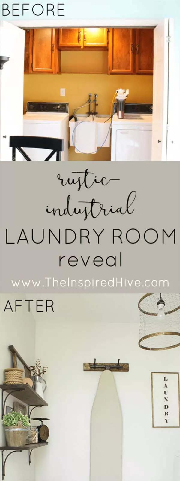 Rustic Industrial Laundry Room Reveal #laundryroom #makeover #homedecorimage