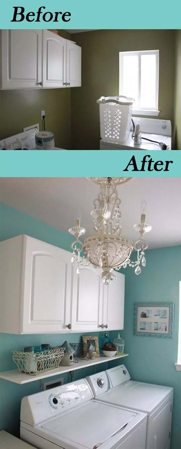 Turquoise Laundry Room with Crystal Chandelier #laundryroom #makeover #homedecorimage
