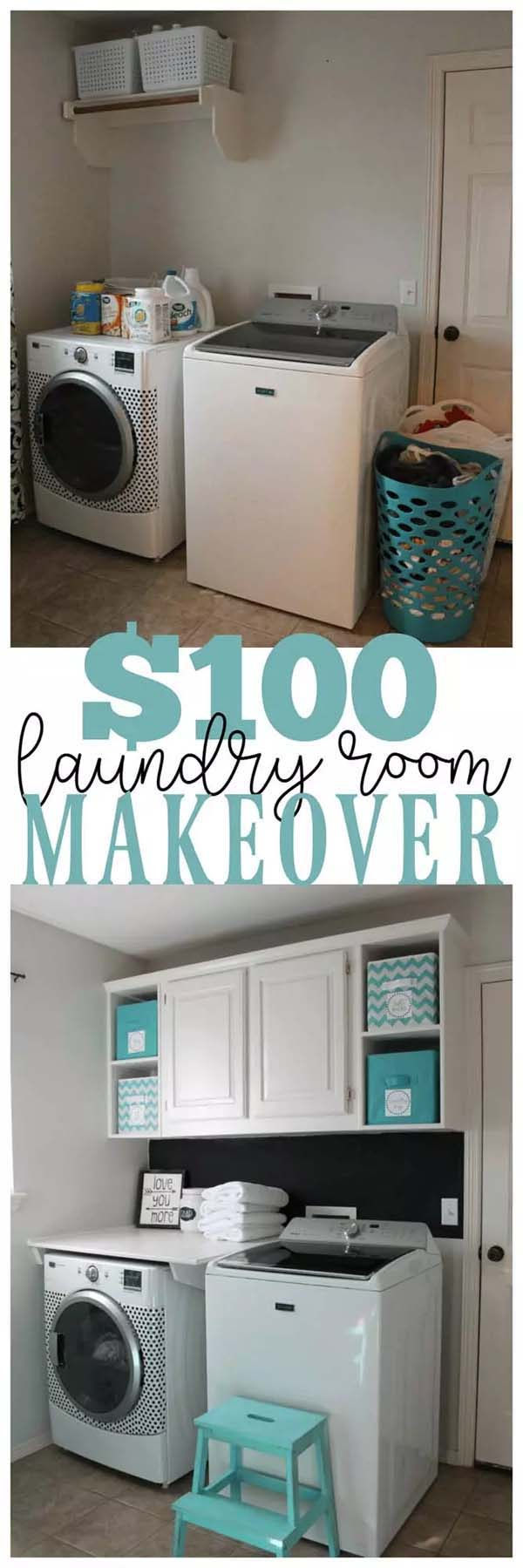 White Cabinets with Turquoise Boxes #laundryroom #makeover #homedecorimage