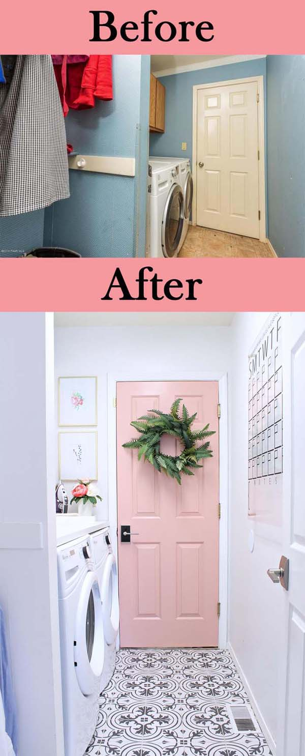 White Laundry Room with a Pink Door #laundryroom #makeover #homedecorimage