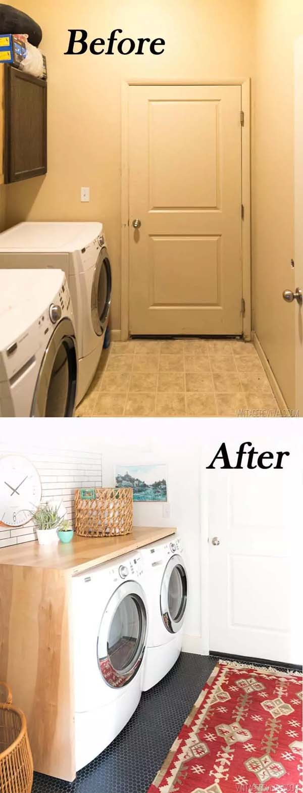 Wooden Counter in the Laundry Room #laundryroom #makeover #homedecorimage